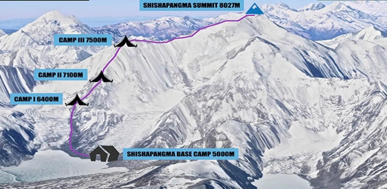 Mount Shishapangma Expedition map