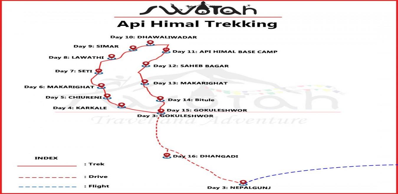Api Himal  Trekking map