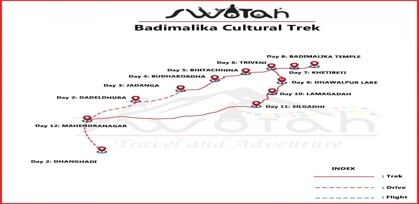 Badimalika Cultural Trek map