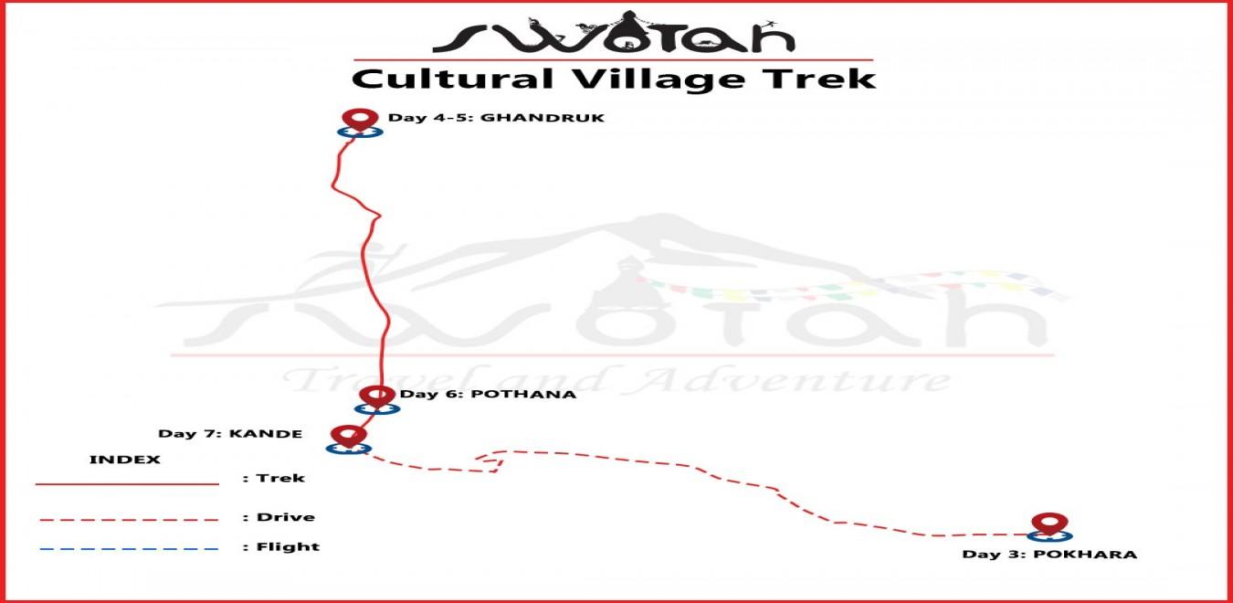 Gurung Villages Cultural Trek map