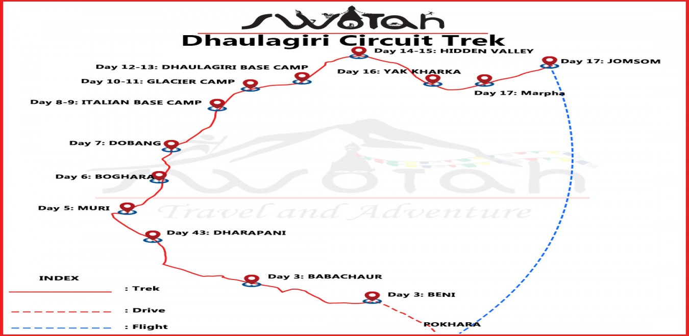 Dhaulagiri Circuit Trek map