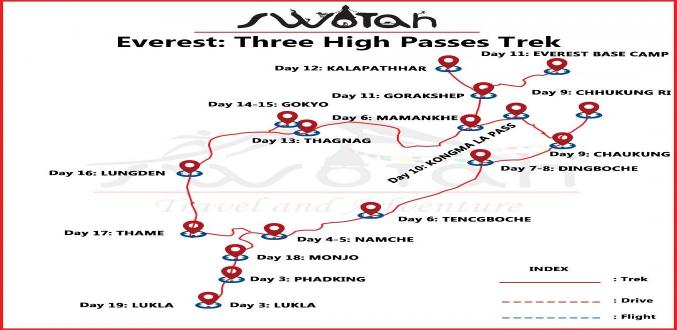 Everest: Three High Passes Trek map