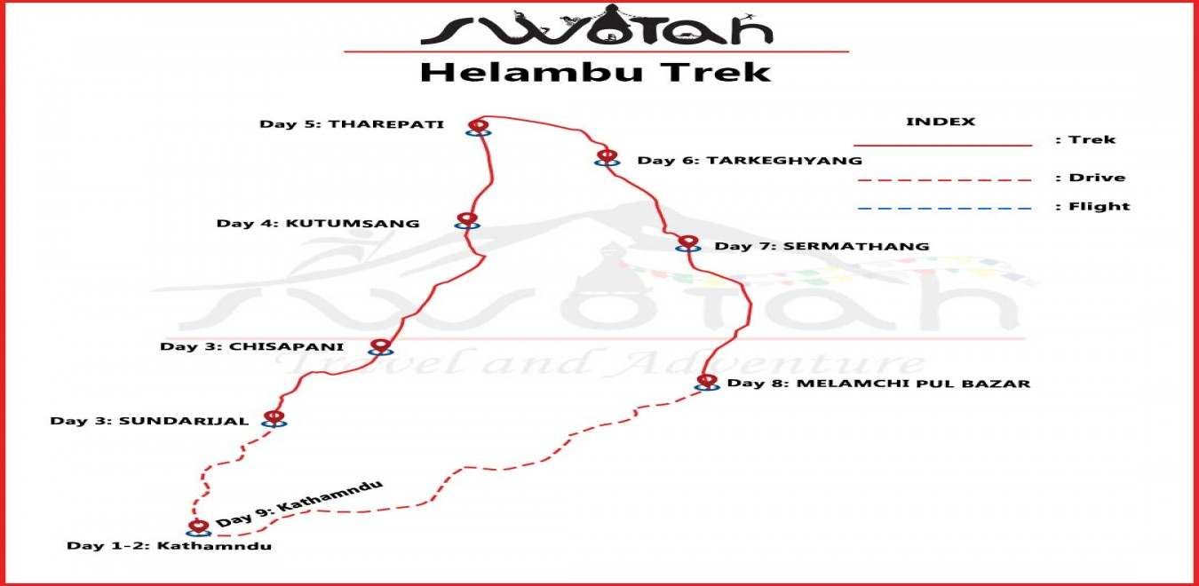 Helambu Valley Trek map