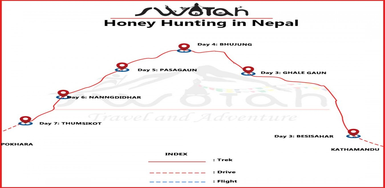 Honey Hunting in Nepal map