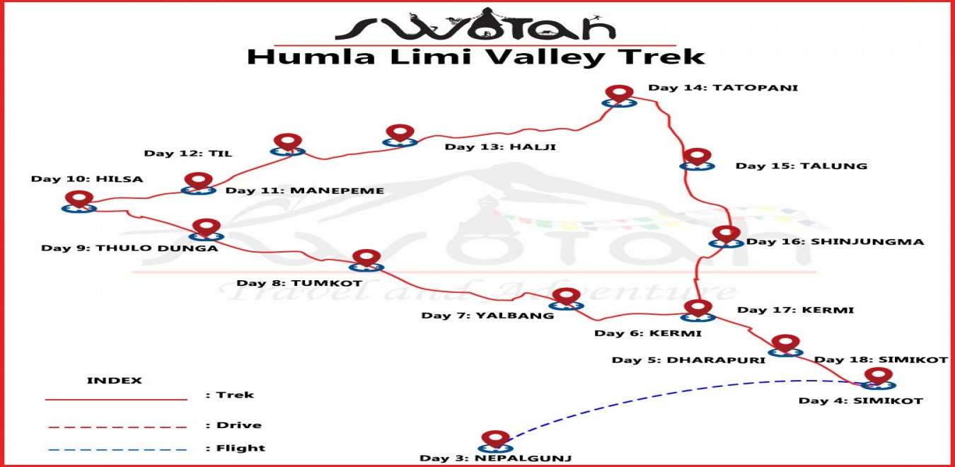 Humla Limi Valley Trek map