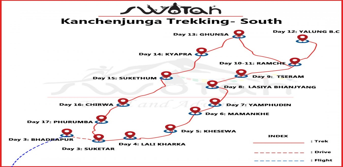 Kanchenjunga South Base Camp map