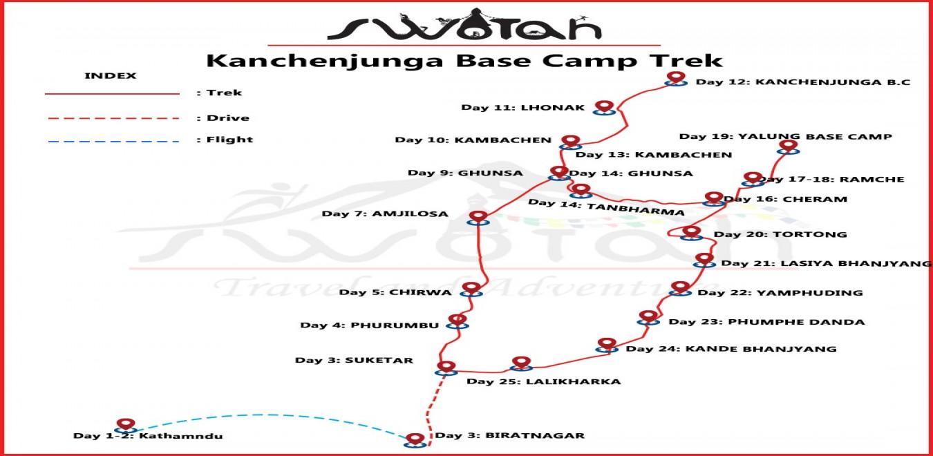 Kanchenjunga Base Camp Trek map