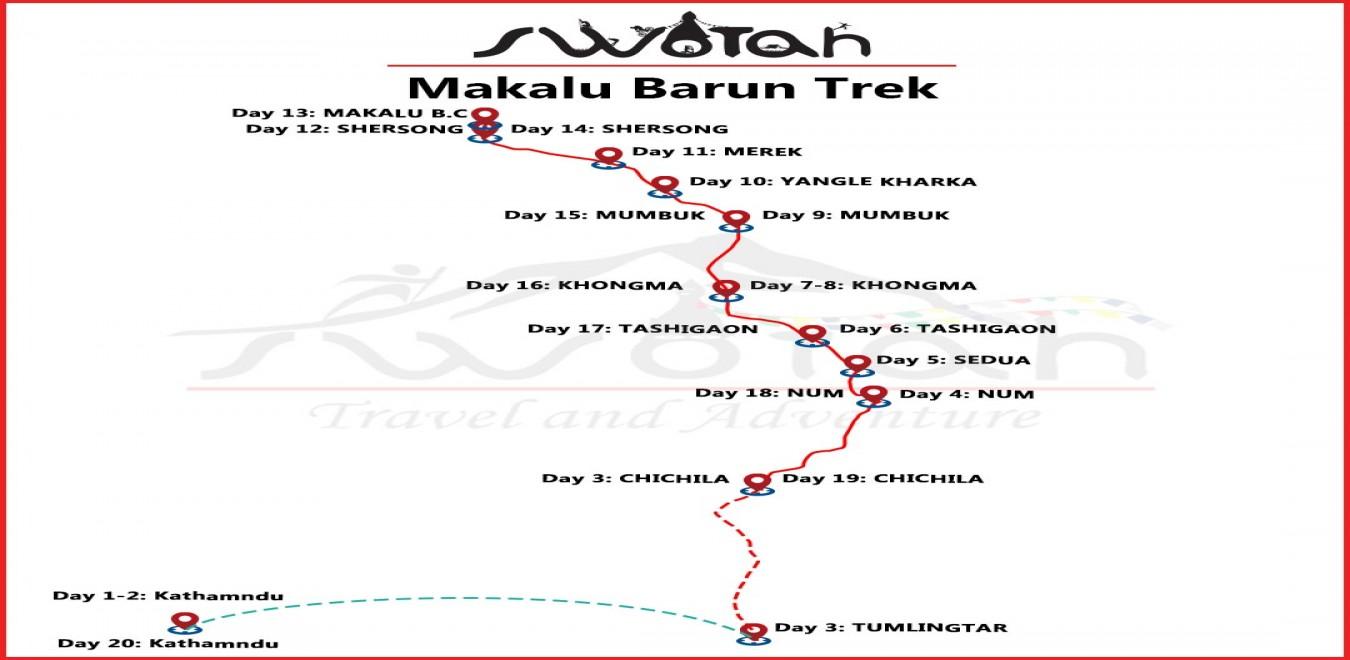 Makalu Barun Trek map