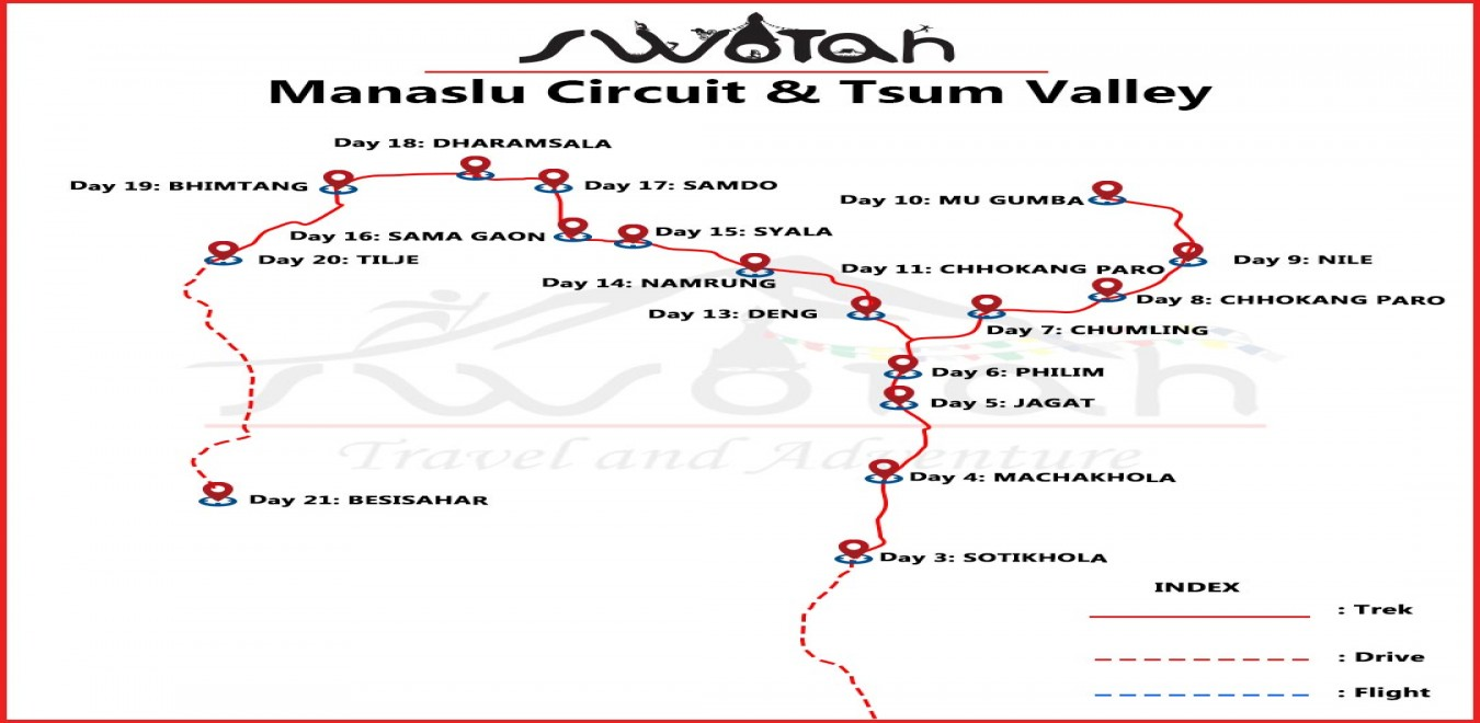 Manaslu Circuit Tsum Valley map