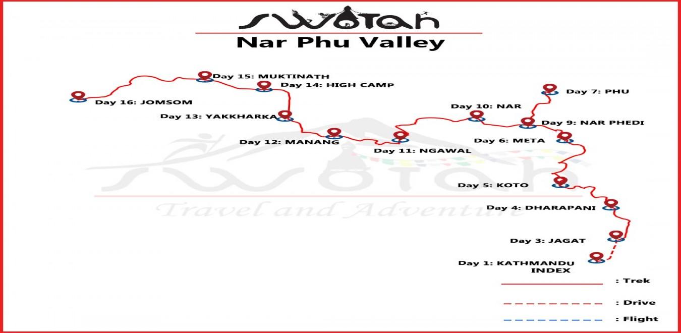 Nar Phu Valley map