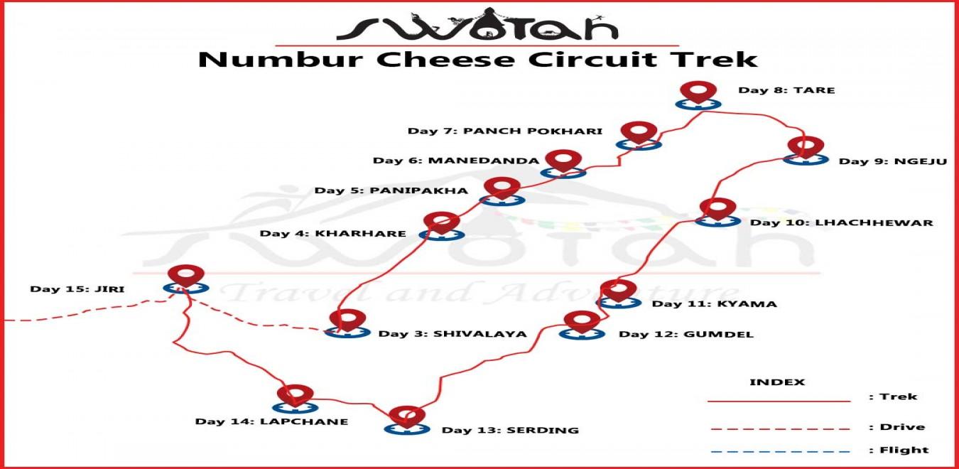 Numbur Cheese Circuit Trek map