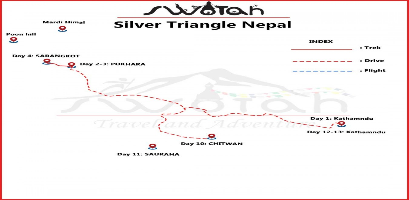 Silver Triangle Nepal map