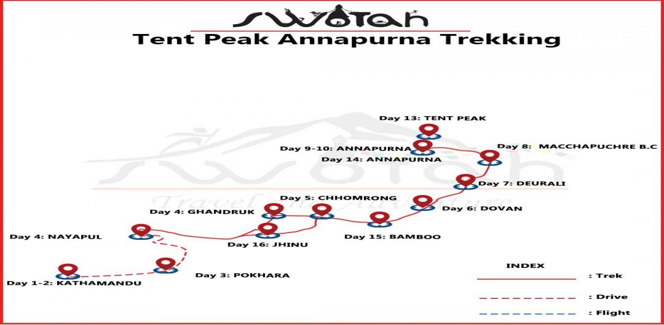Tent Peak Annapurna Trekking map