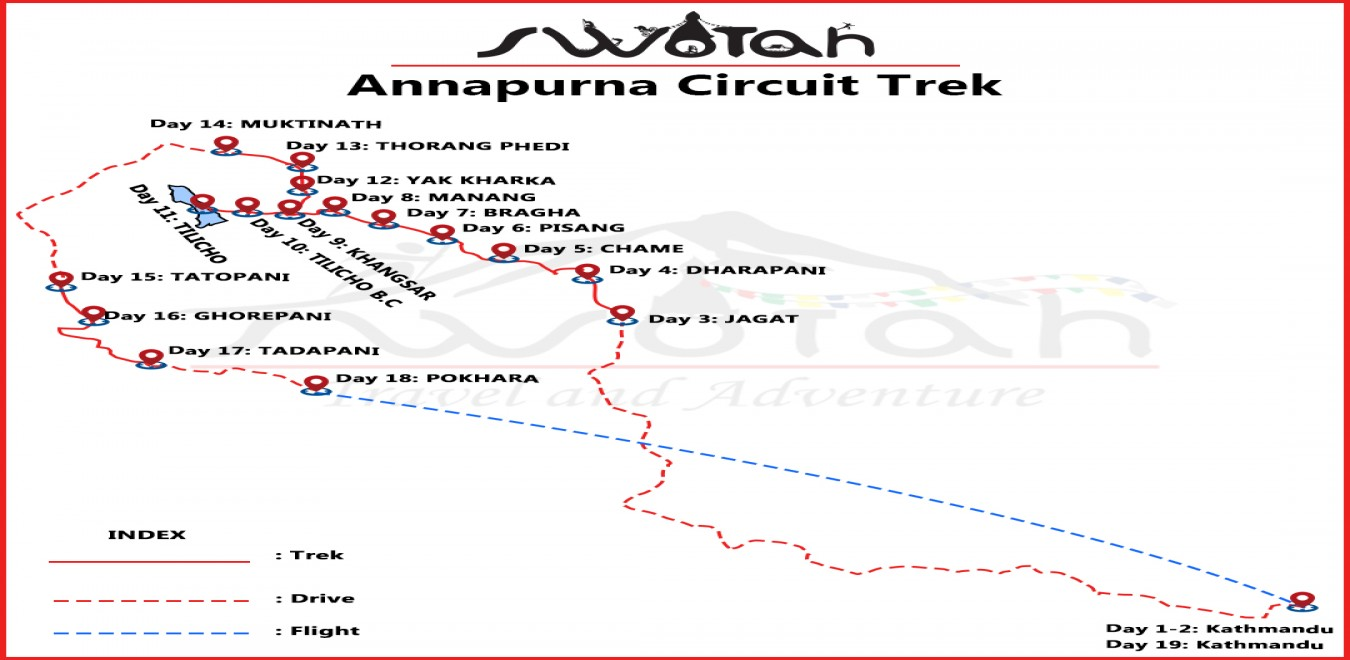 Annapurna Circuit with Tilicho Lake map