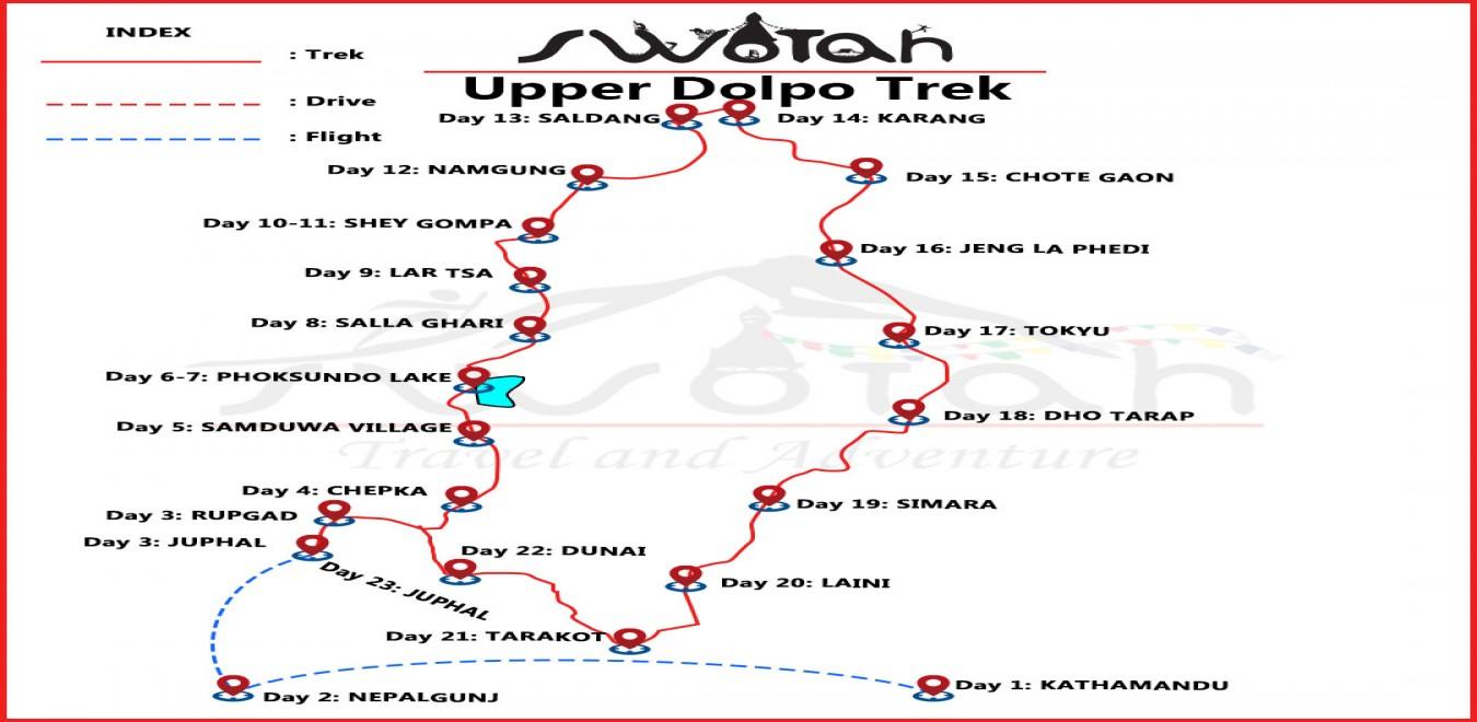 Upper Dolpo to Jomsom Trek map