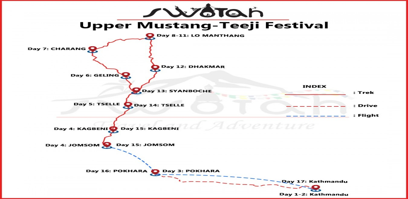 Upper Mustang-Teeji Festival map