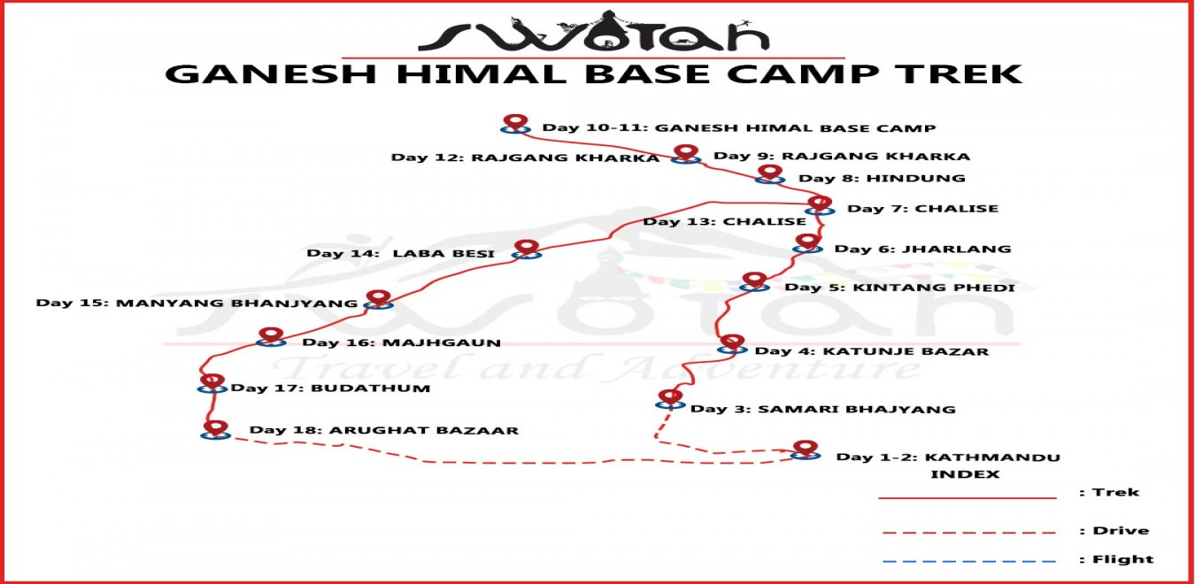 Ganesh Himal Base Camp Trek map