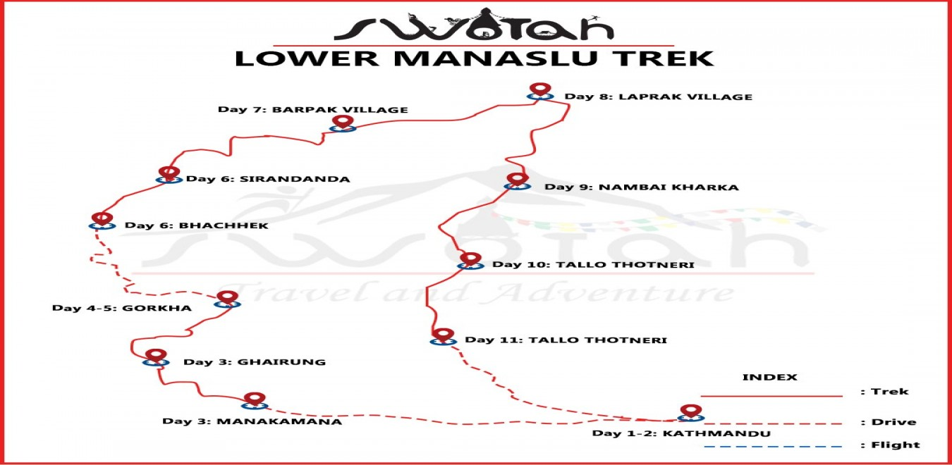 Lower Manaslu Trek map