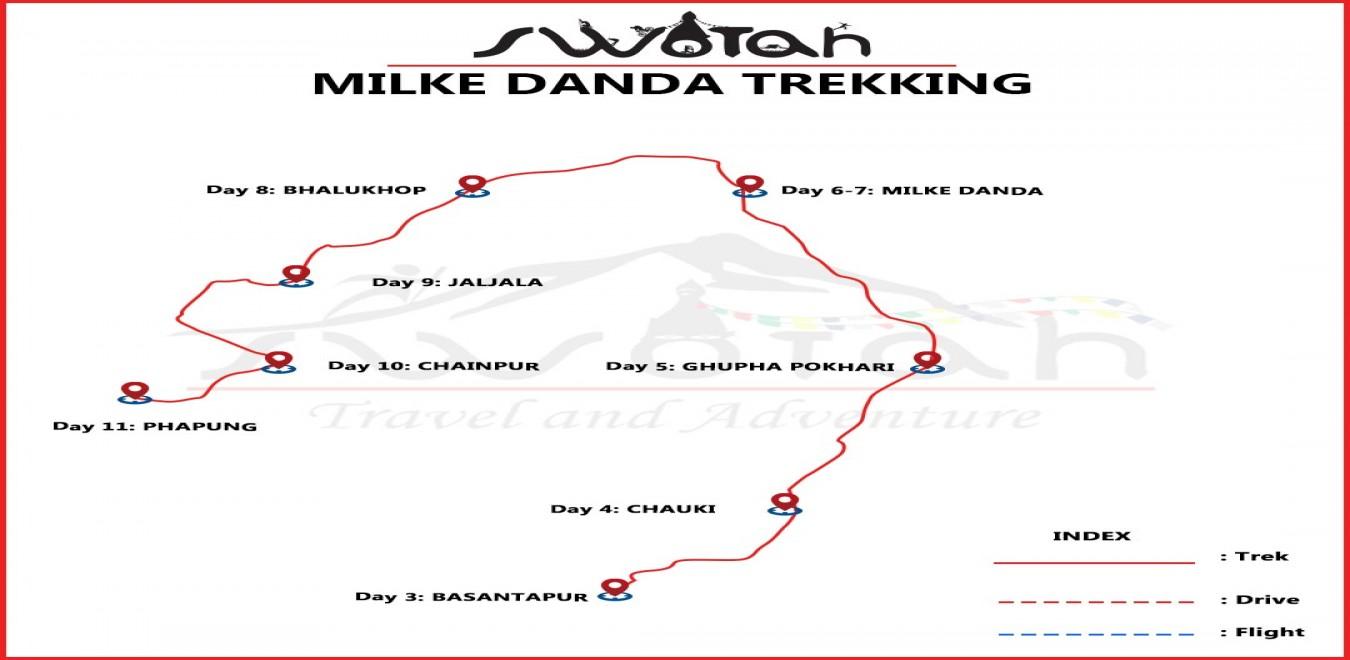 Milke Danda Trekking map