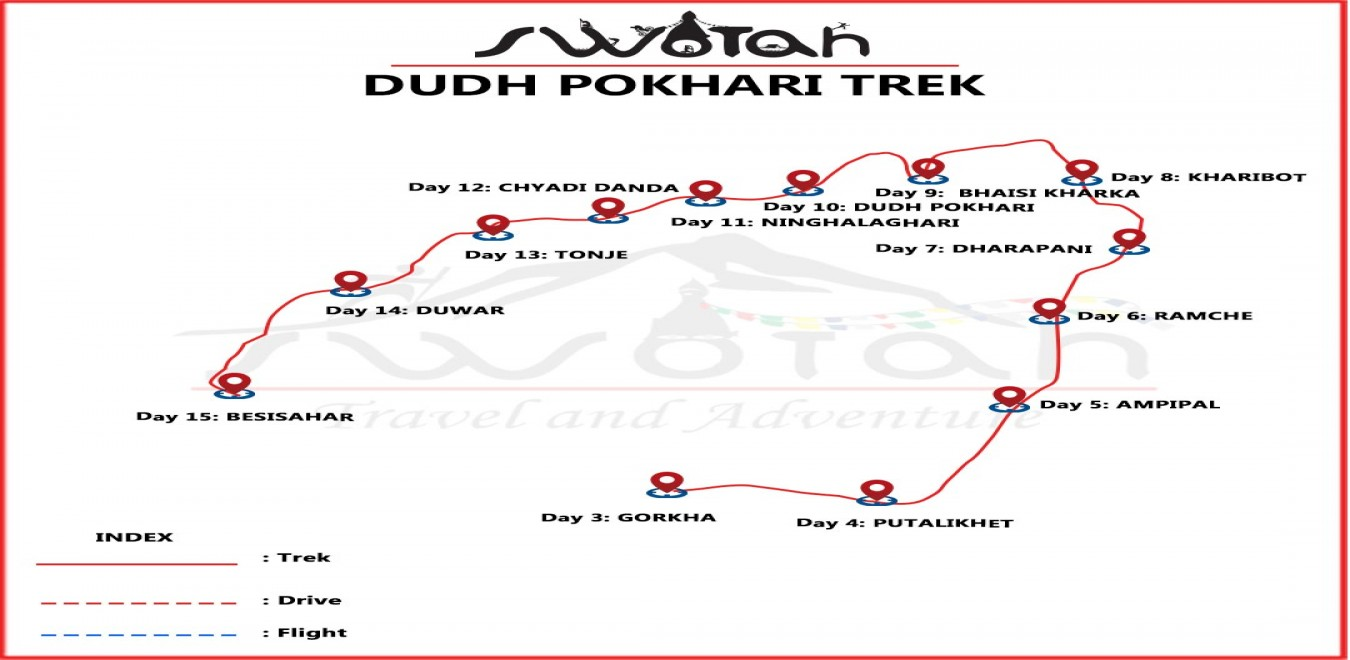 Dudh Pokhari Trek map
