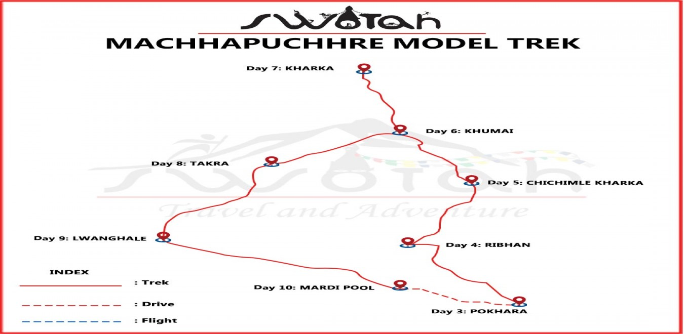 Machhapuchhre Model Trek map