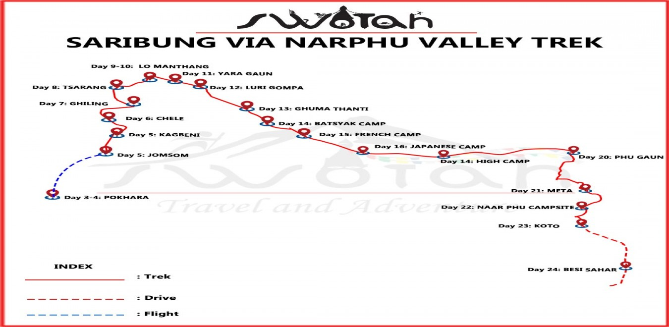 Saribung Pass Trek map
