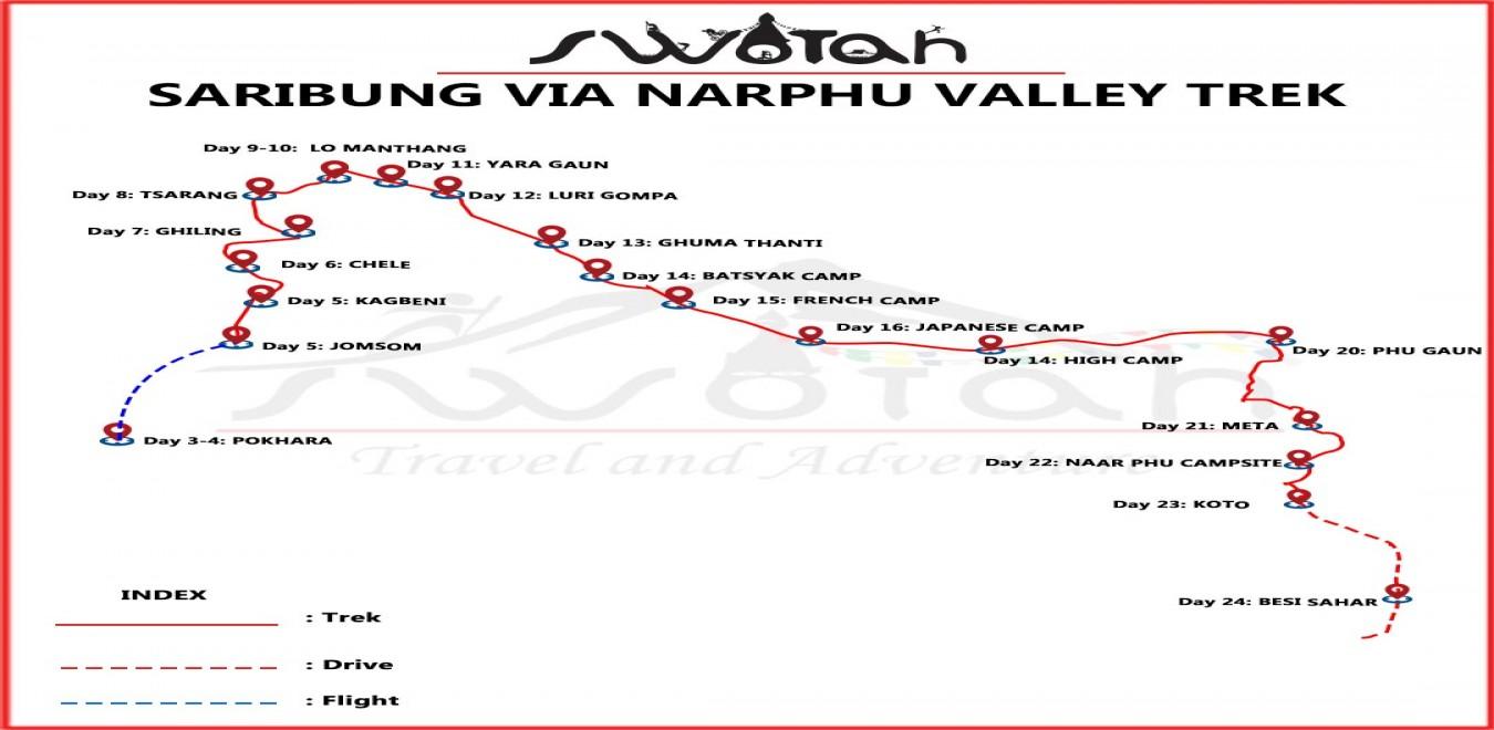 Saribung Pass Trek map