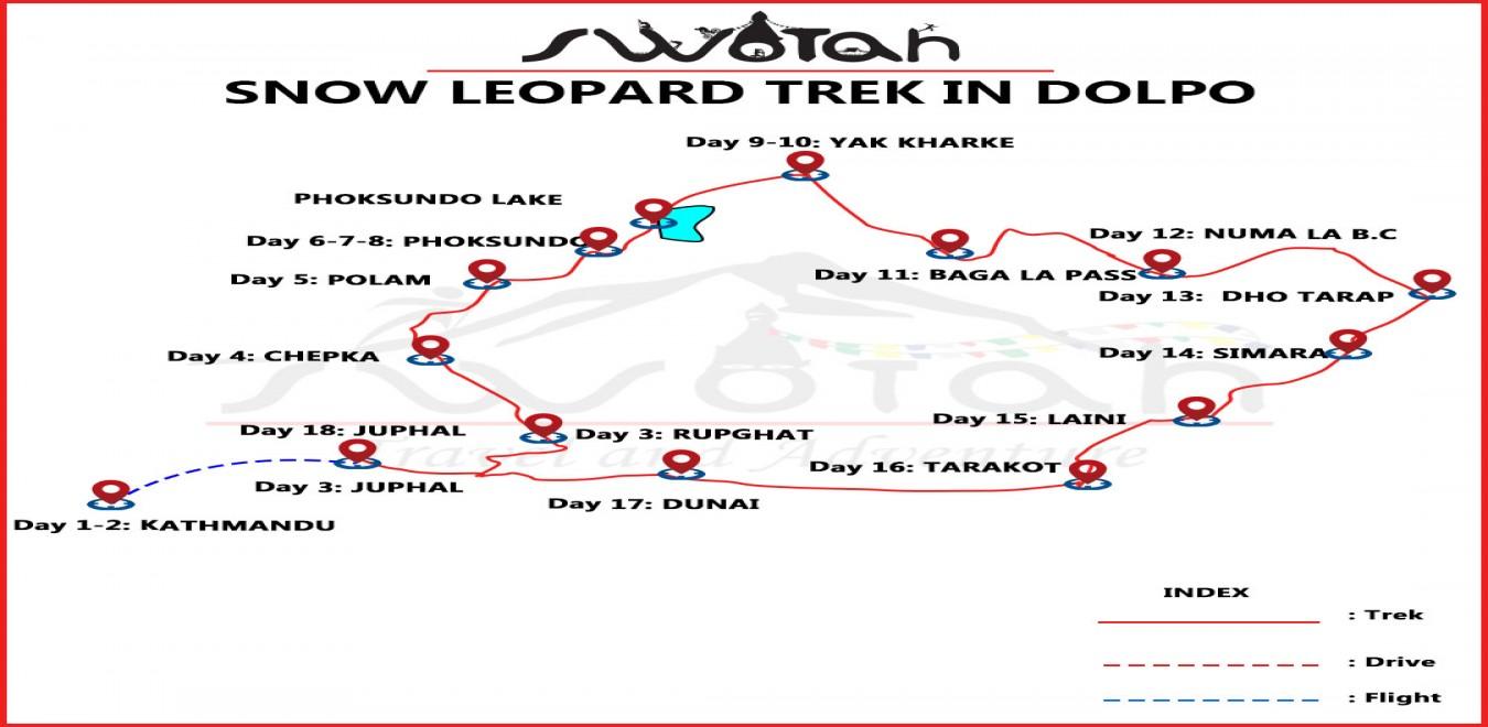 Snow Leopard Trek in Dolpo map