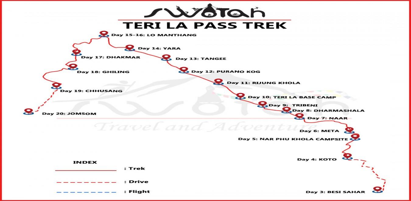 Teri La Pass Trek map