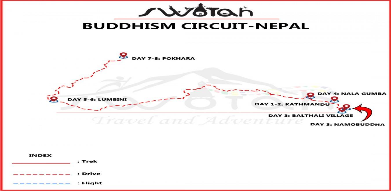 Buddhism Circuit-Nepal map