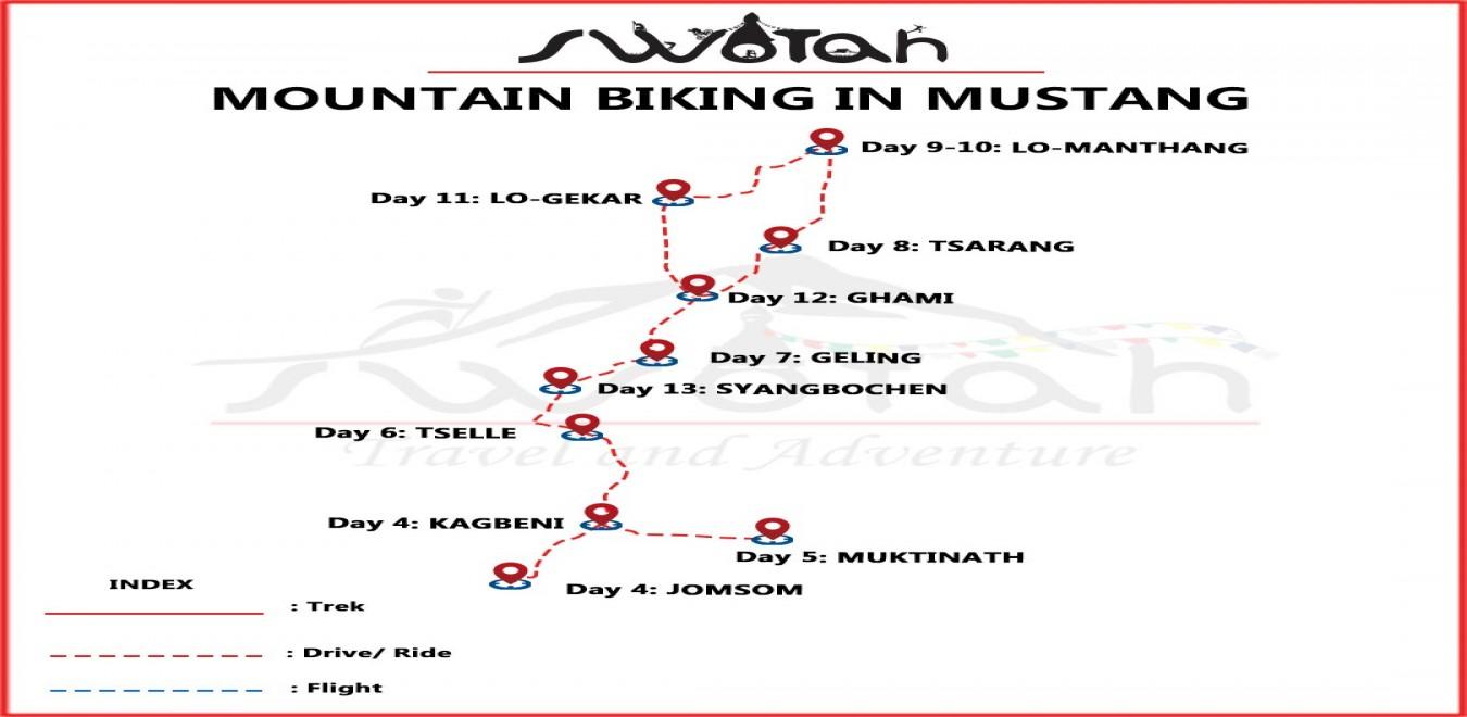 Mountain Biking in Mustang map