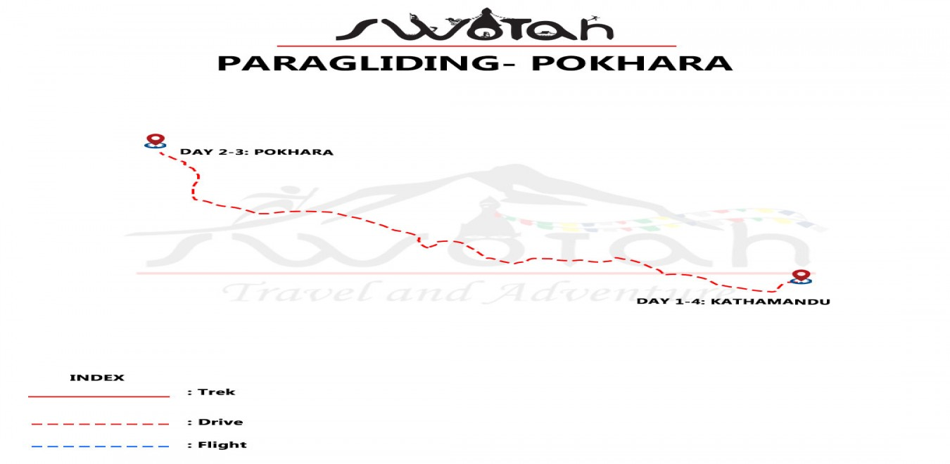 Paragliding in Pokhara map