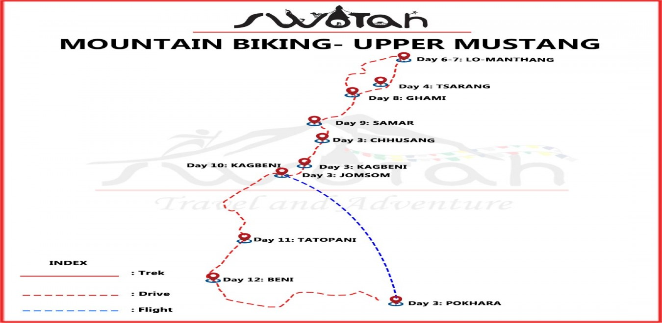 Easy Upper Mustang Mountain Biking map