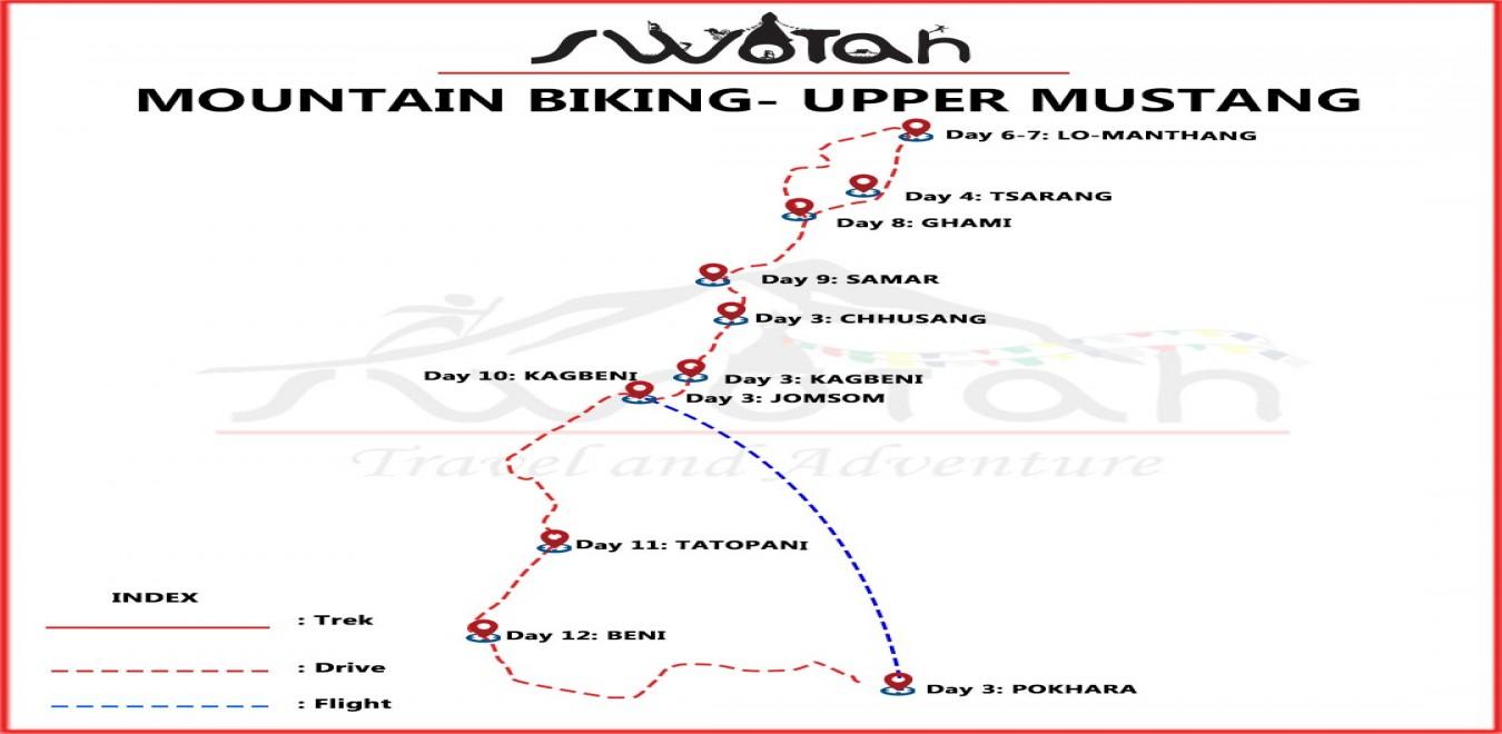 Easy Upper Mustang Mountain Biking map