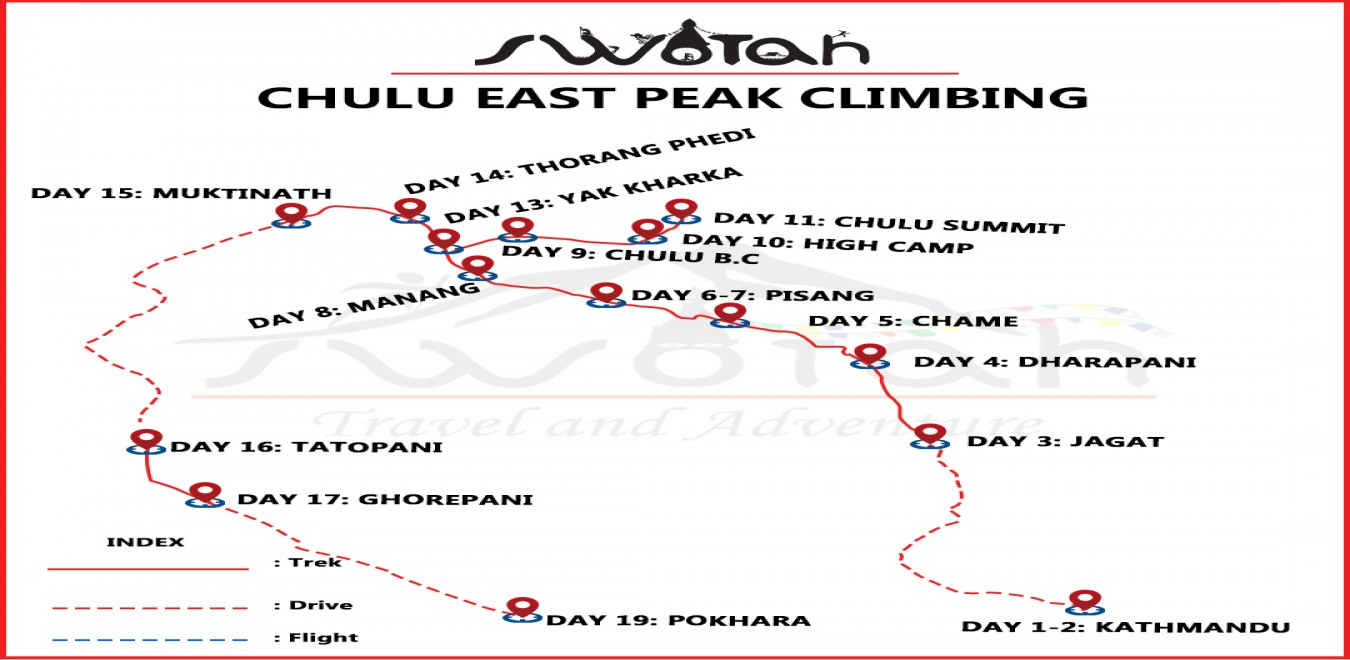 Chulu East Peak Climbing map