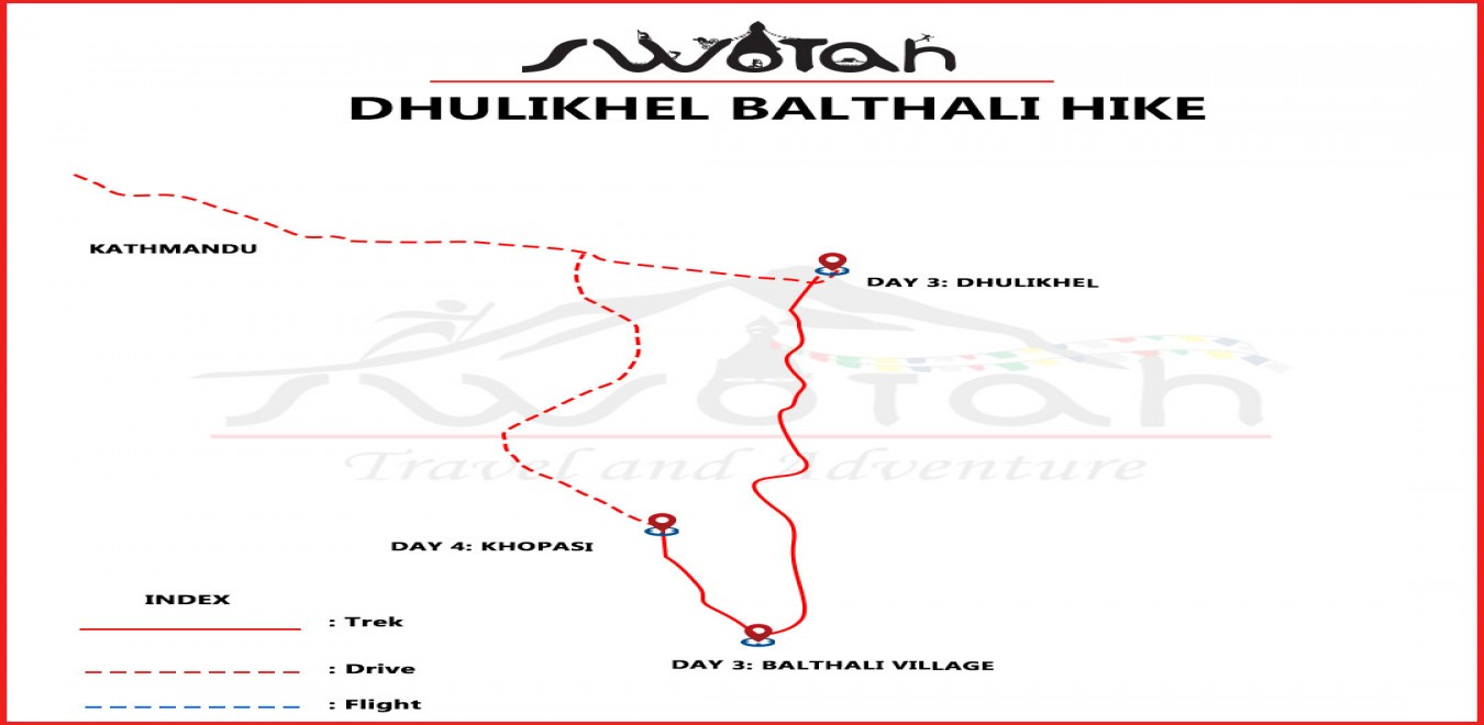 Dhulikhel Balthali Hike map