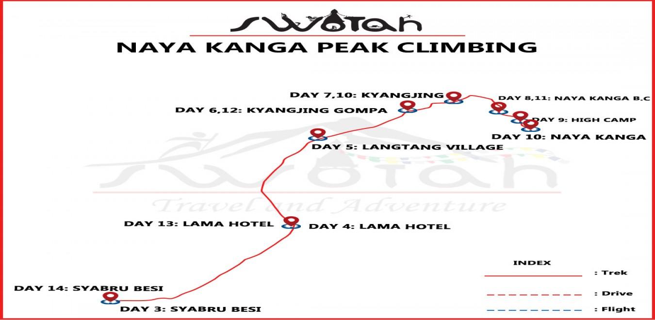 Naya Kanga Peak Climbing map