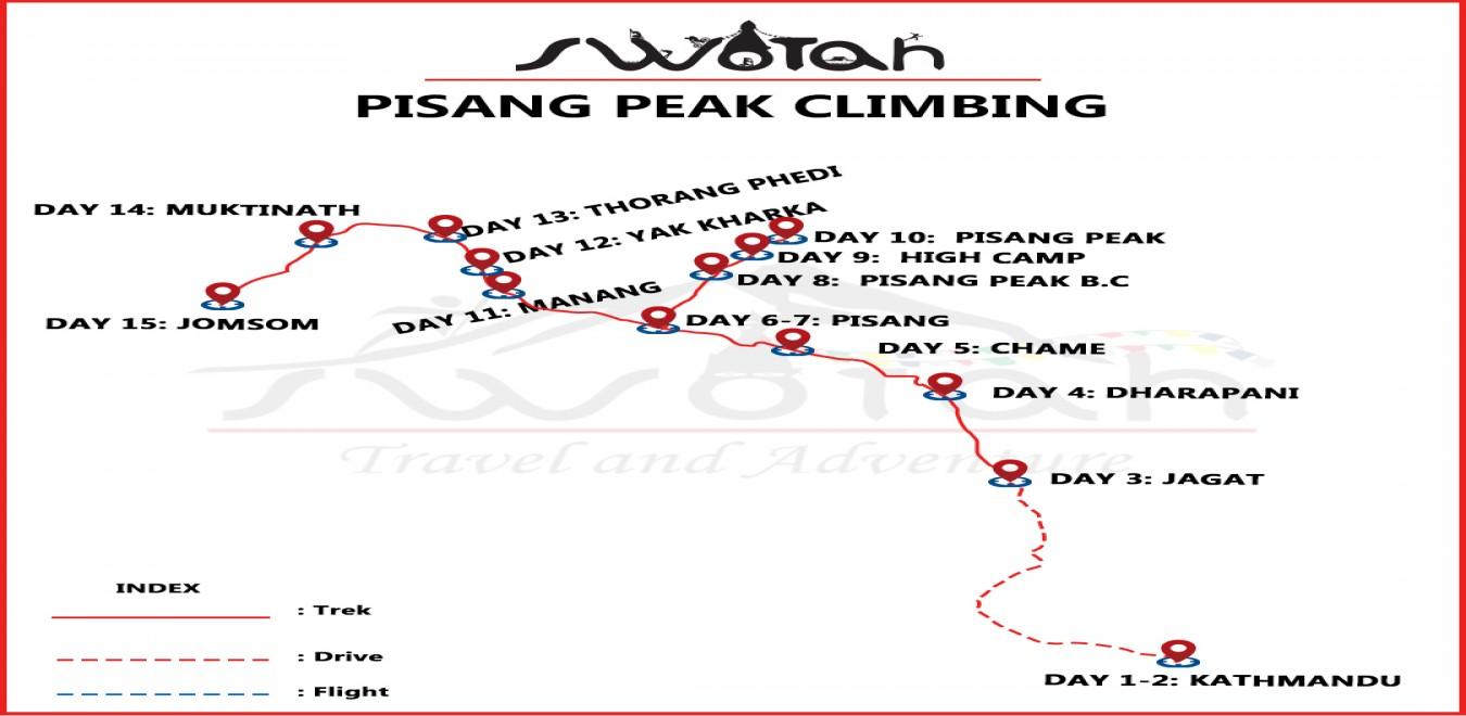 Pisang Peak Climbing map