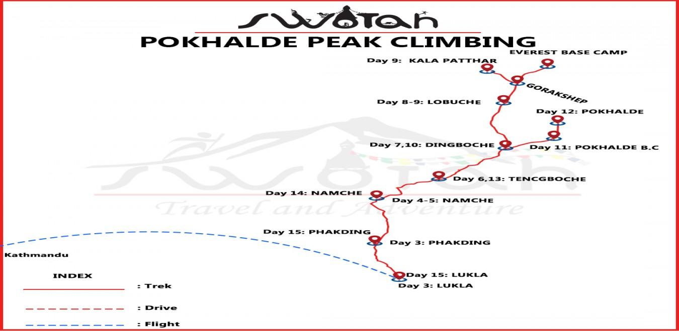 Pokhalde Peak Climbing map