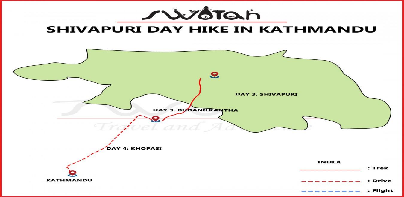 Shivapuri Day hike in Kathmandu map