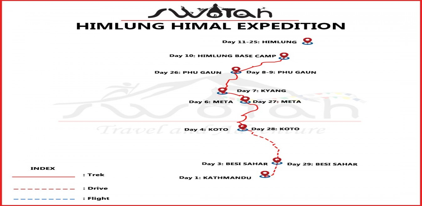 Himlung Himal Expedition map