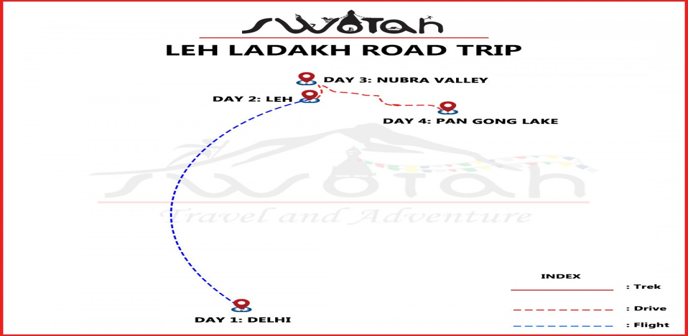 Leh Ladakh Road Trip map