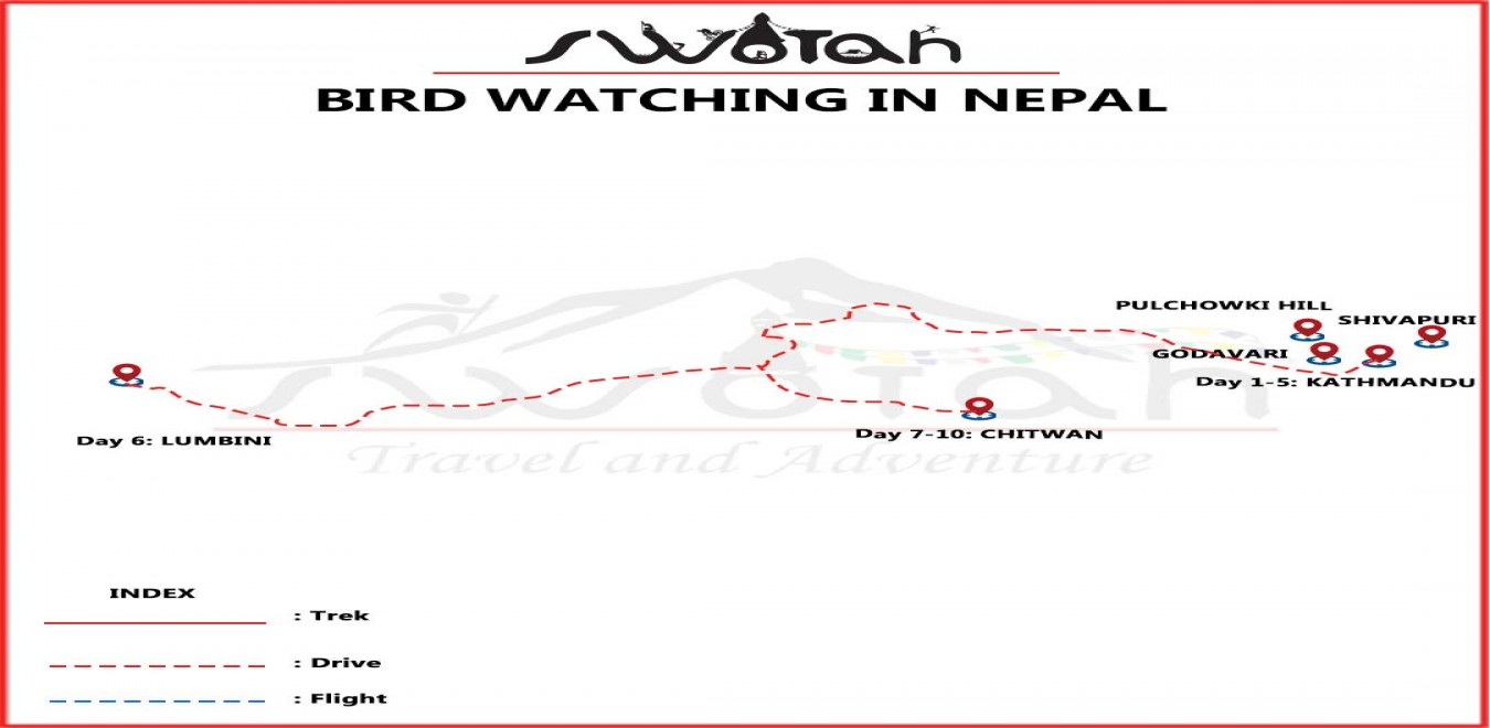Bird Watching in Nepal map