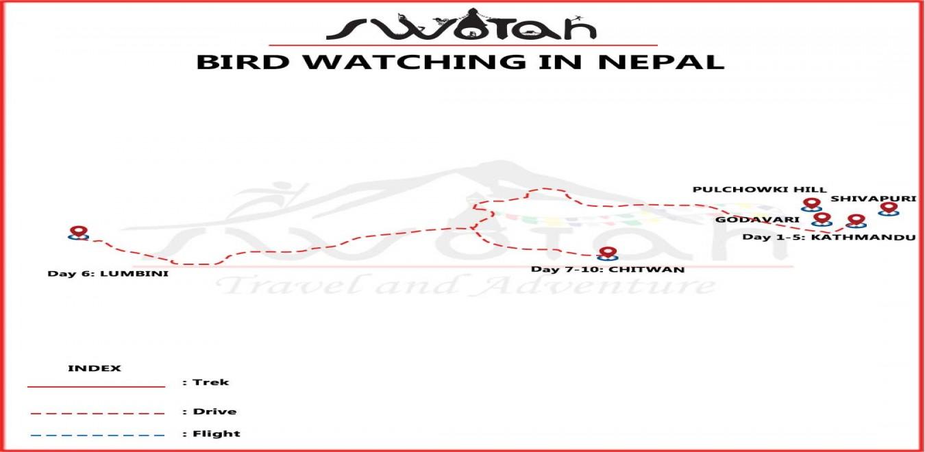 Bird Watching in Nepal map