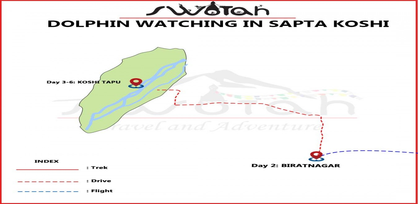 Dolphin Watching in Nepal| Sapta Koshi River| map