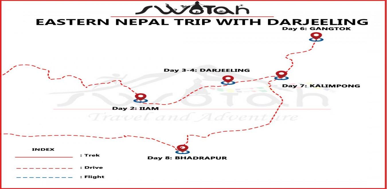 Eastern Nepal Trip with Darjeeling map