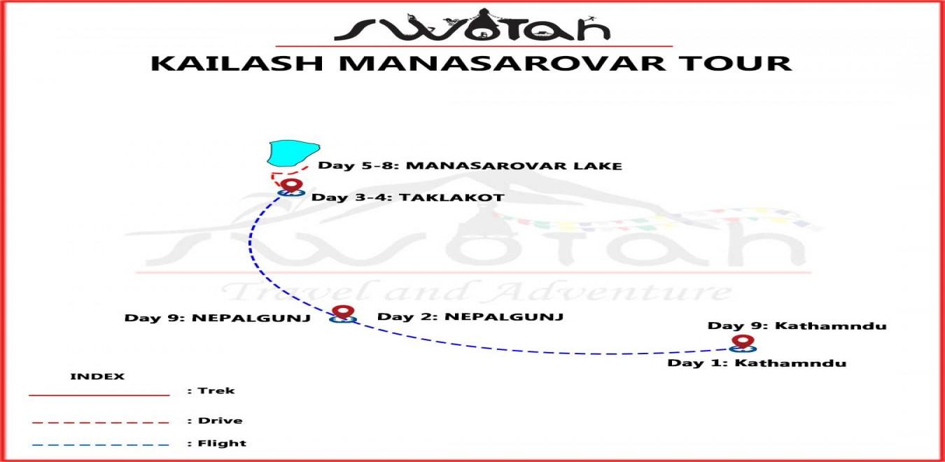 Kailash Mansarovar Heli Tour map