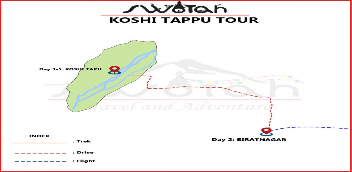 Koshi Tappu wildlife Tour map