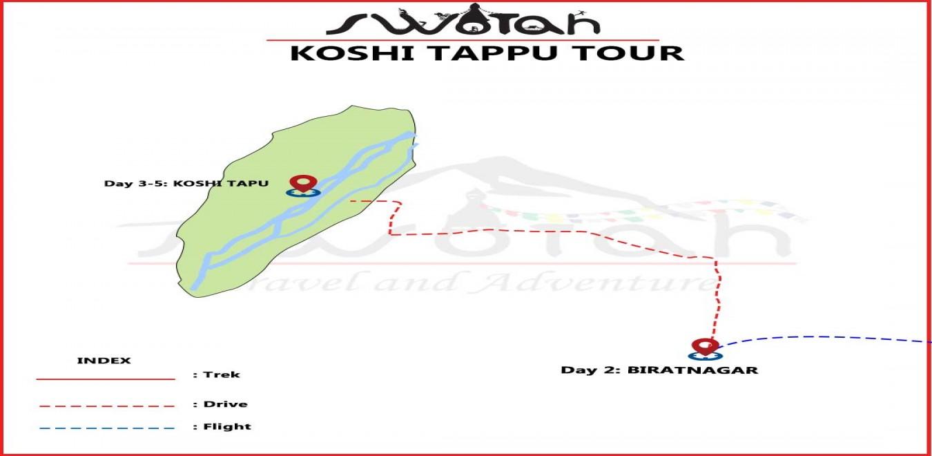 Koshi Tappu wildlife Tour map