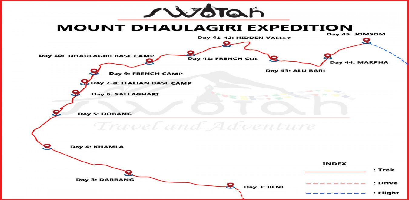 Mount Dhaulagiri Expedition map